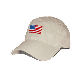 [스매더스 앤 브랜슨]SMATHERS AND BRANSON -성조기 스톤  American Flag Needlepoint Hat [Stone]