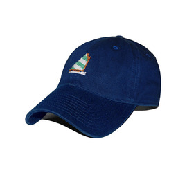 [스매더스 앤 브랜슨]SMATHERS AND BRANSON -무지개 배 네이비 Rainbow Fleet Needlepoint Hat [Navy]