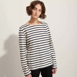 [르 몽생미셸] LE MONT SAINT MICHEL _BRETON-STRIPED T-SHIRT off white - navy