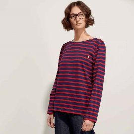 [르 몽생미셸] LE MONT SAINT MICHEL _BRETON-STRIPED T-SHIRT navy - red