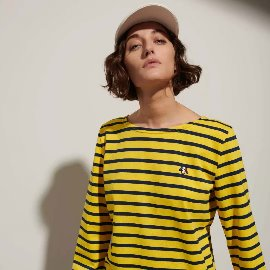 [르 몽생미셸] LE MONT SAINT MICHEL _BRETON-STRIPED T-SHIRT yellow-navy