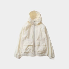 [홀리선]HORLISUN_Breeze Nylon Hood Zip Up Jacket Offwhite