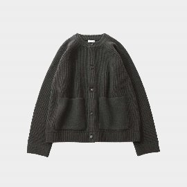 [홀리선]HORLISUN_Annette Raglan Heavy Knit Cardigan Seasonal  Ivy Green