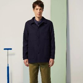 [르 몽생미셸] LE MONT SAINT MICHEL_WOOLEN WORK JACKET NAVY